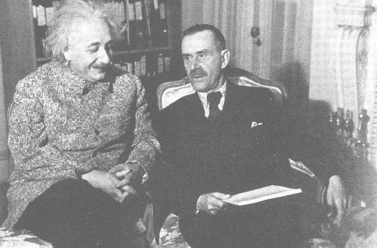 Albert Einstein with Thomas Mann in Princeton, 1938