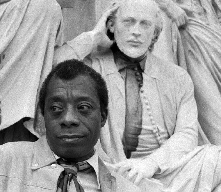 James Baldwin with Shakespeare, Photo by Allan Warren, Wikipedia