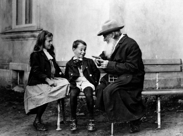 Leo Tolstoy with his grand-children
