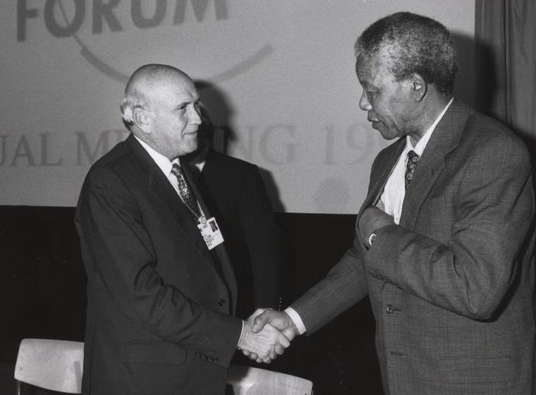 Nelson Mandela with Frederik de Klerk 1992, Photo credit: Wikipedia