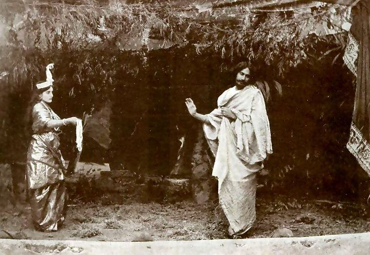 Rabindranath Tagore and Indira Devi in Valmiki-Pratibha, 1881, Photo credit: Wikipedia
