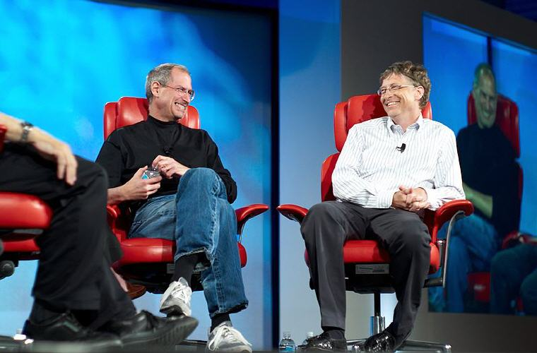 Steve Jobs and Bill Gates, All Things Digital conference in Carlsbad, California, 2007, Photo credit: Wikipedia