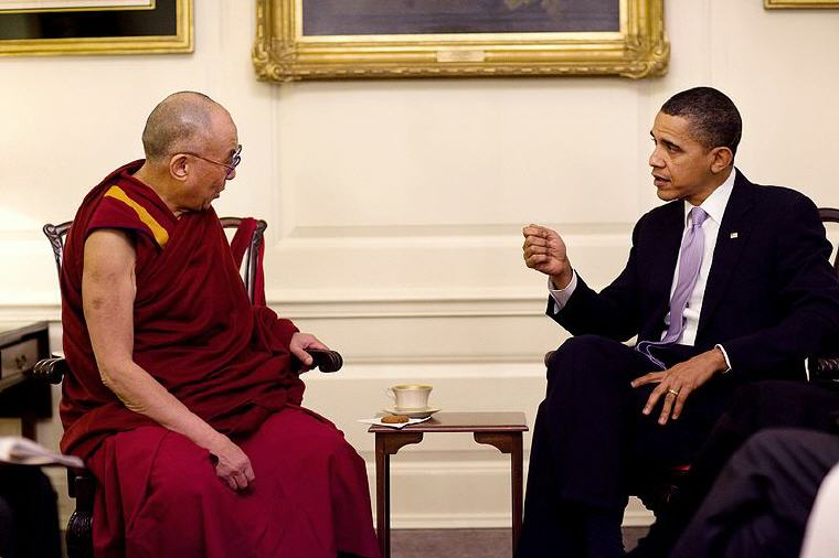 The 14th Dalai Lama with former President Barack Obama 18 February 2010, Photo credit: Wikipedia, Dalai Lama Quotes and Sayings