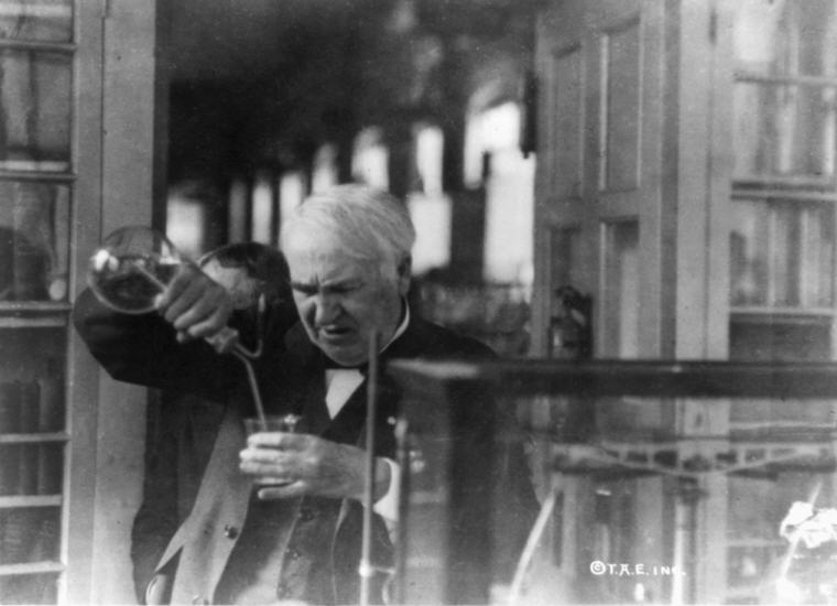 Photo credit: Wikipedia, Thomas Edison experimenting in his laboratory